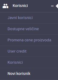 Pristup podsekciji Novi korisnik