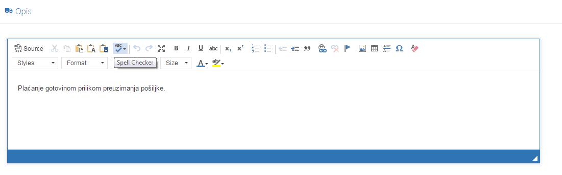 Kreiranje novog načina plaćanja - tab opis