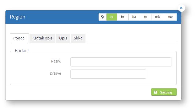 Kreiranje novog regiona - tab podaci