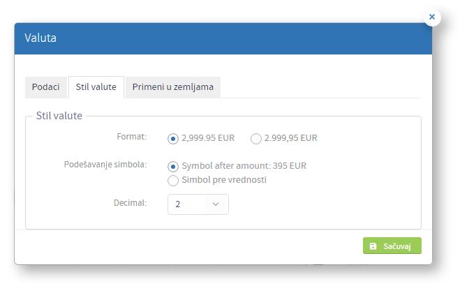 Kreiranje nove valute - tab stil
