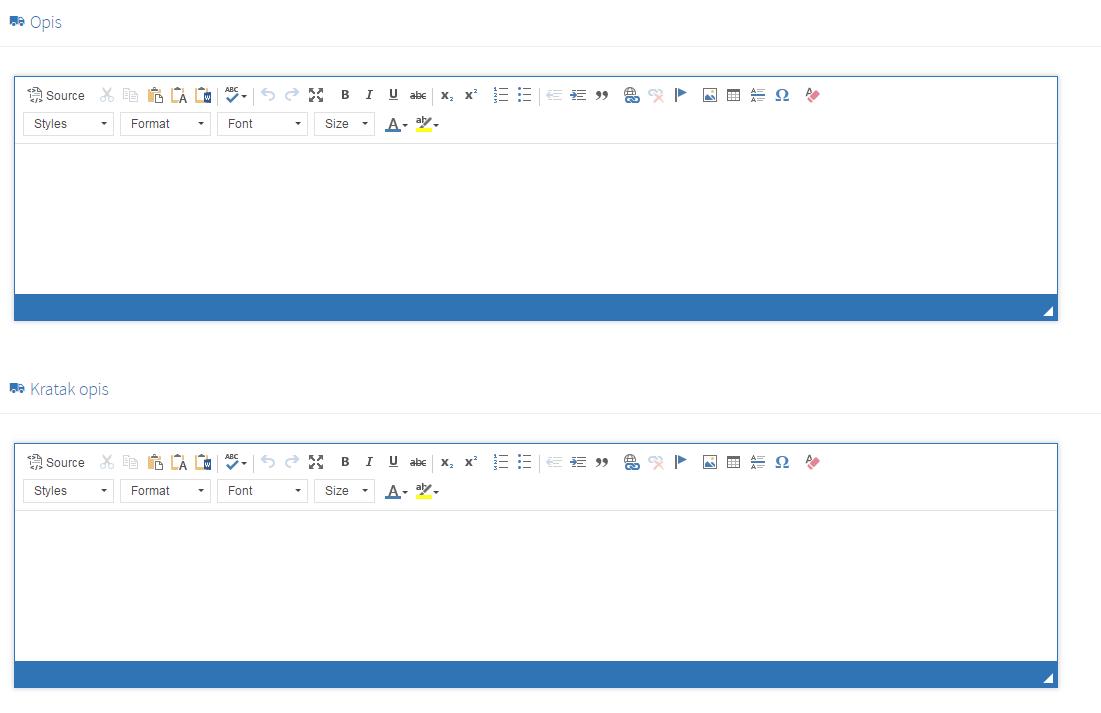 Kreiranje nove kategorije - tab opis