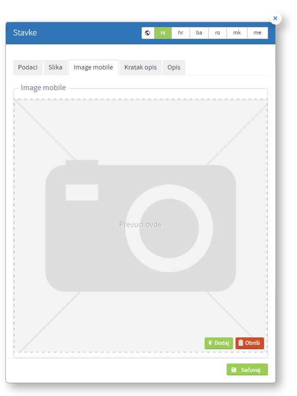 Kreiranje nove stavke - tab mobile image