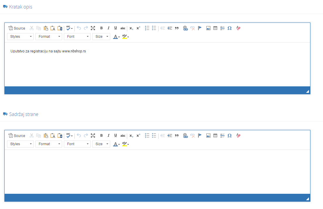 Kreiranje nove strane - tab opis